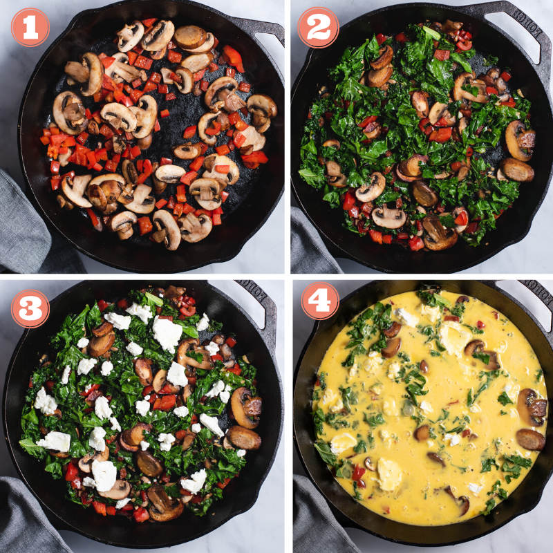 Four steps showing how to make a mushroom frittata