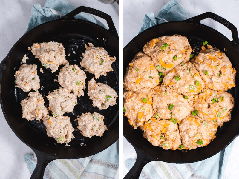 Left image shows biscuit dough in cast iron skillet. Right image shows cast iron with baked cheddar garlic biscuits.