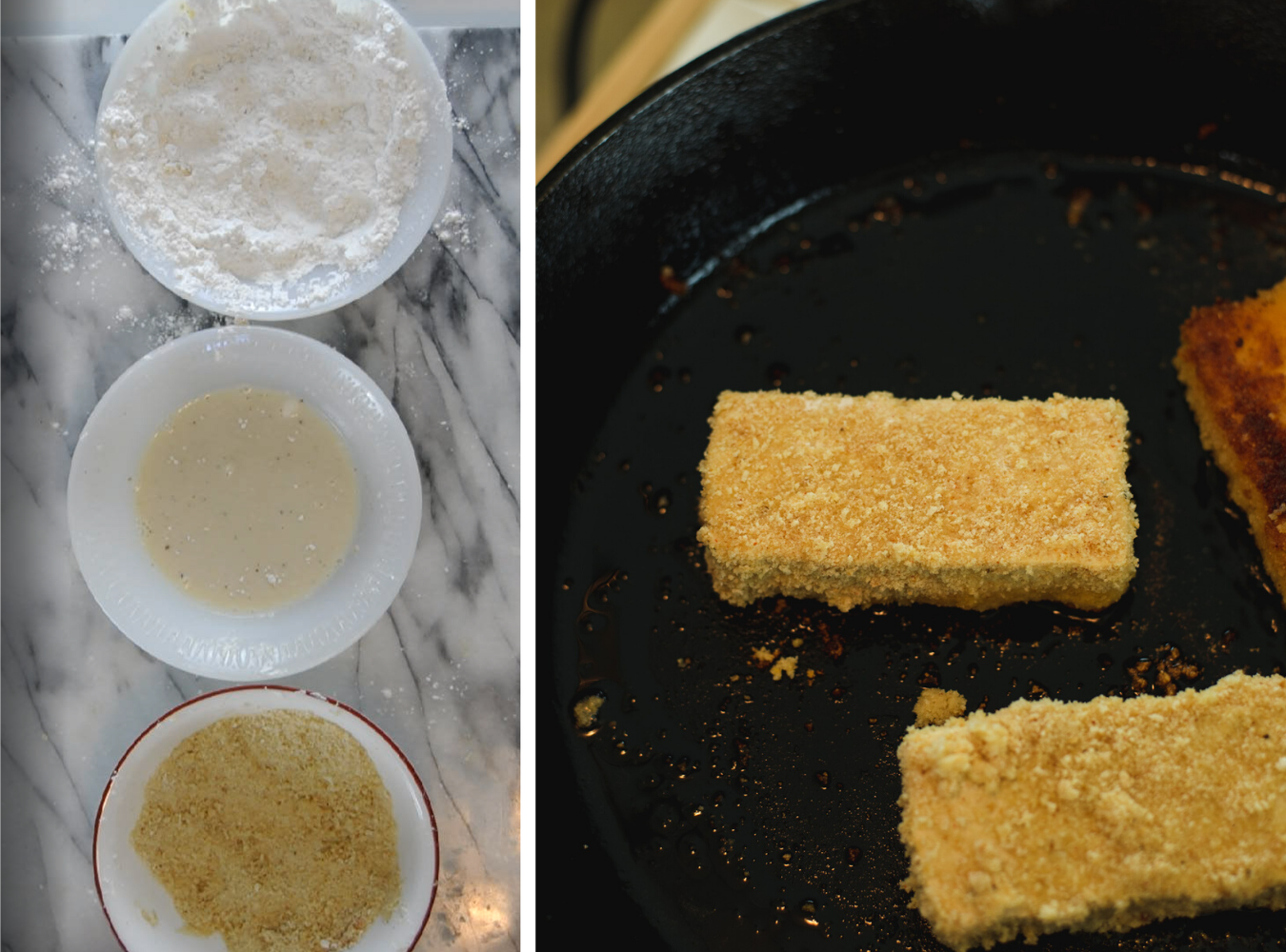 Three bowls with flour, milk and breadcrumbs next to a cast iron pan cooking breaded tofu