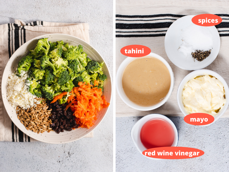 Two images showing ingredients used to make broccoli salad and to make the tahini sauce