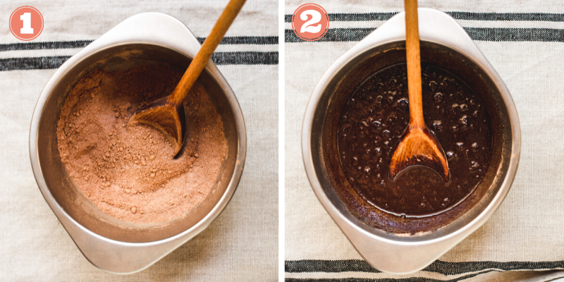 Steps 1 and 2 to mix together brownie batter.