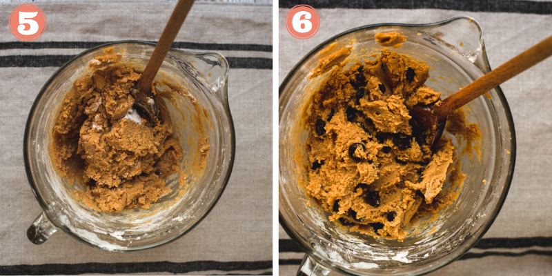 Steps 5 and 6 to make peanut butter cookies.