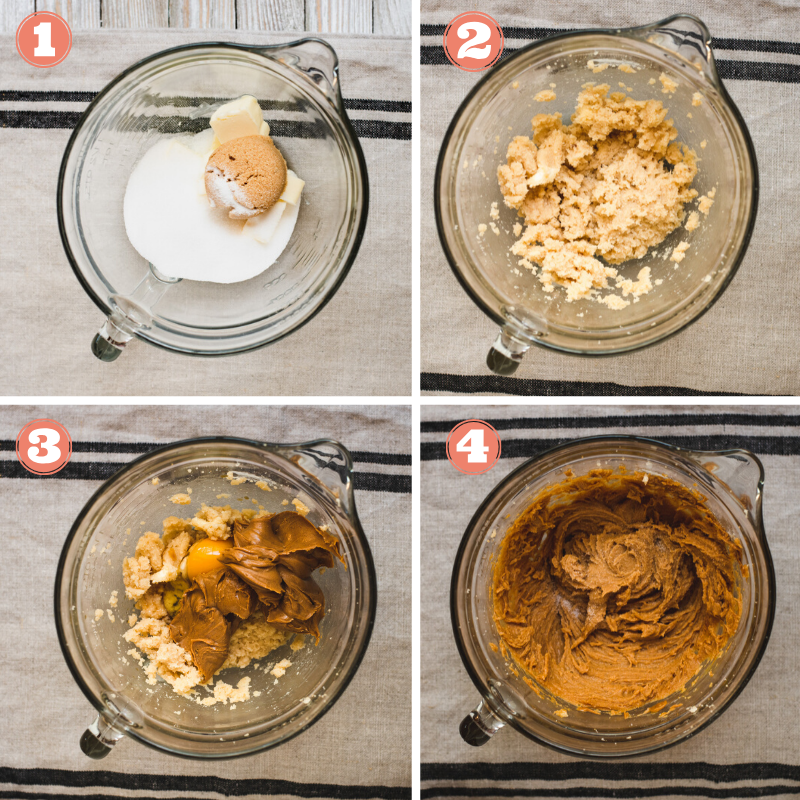 Steps 1 through 4 to make peanut butter cookies.