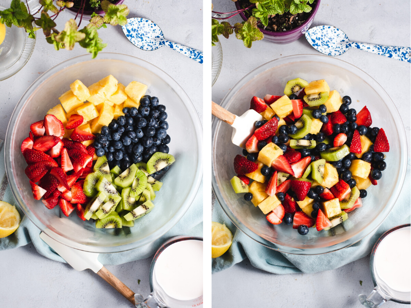 Two photos of fruit in a glass bowl before and after being mixed together