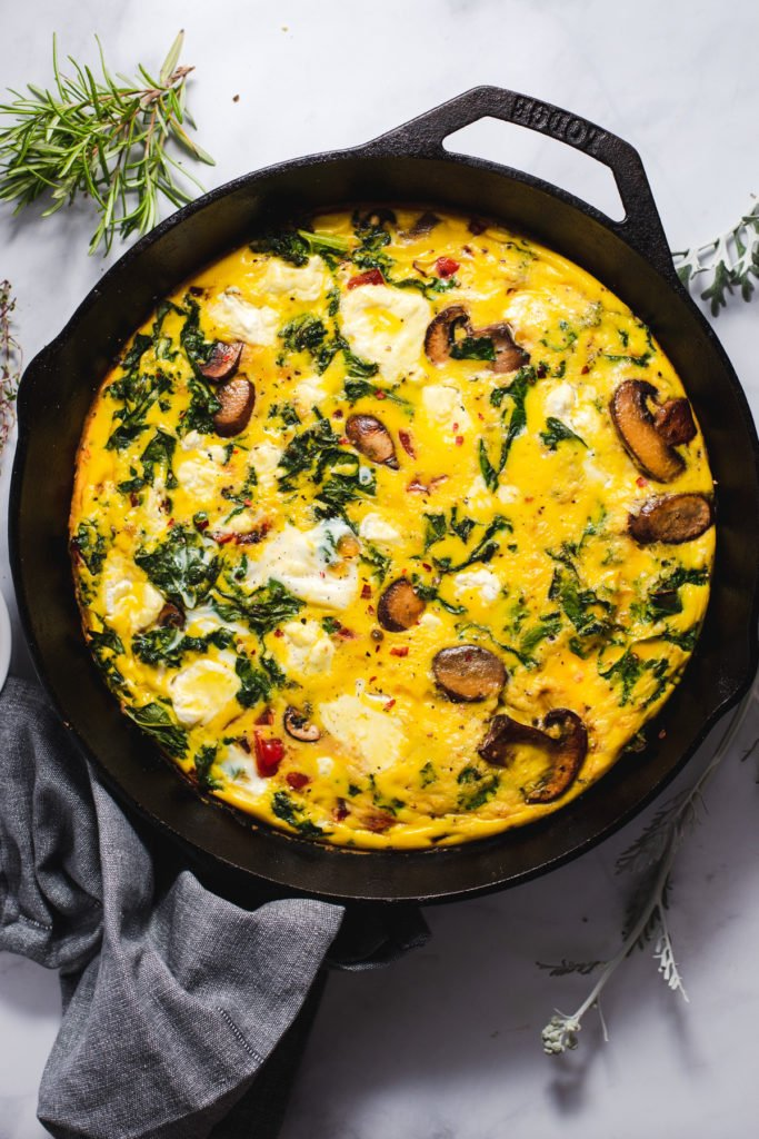 Mushroom frittata in black cast iron pan