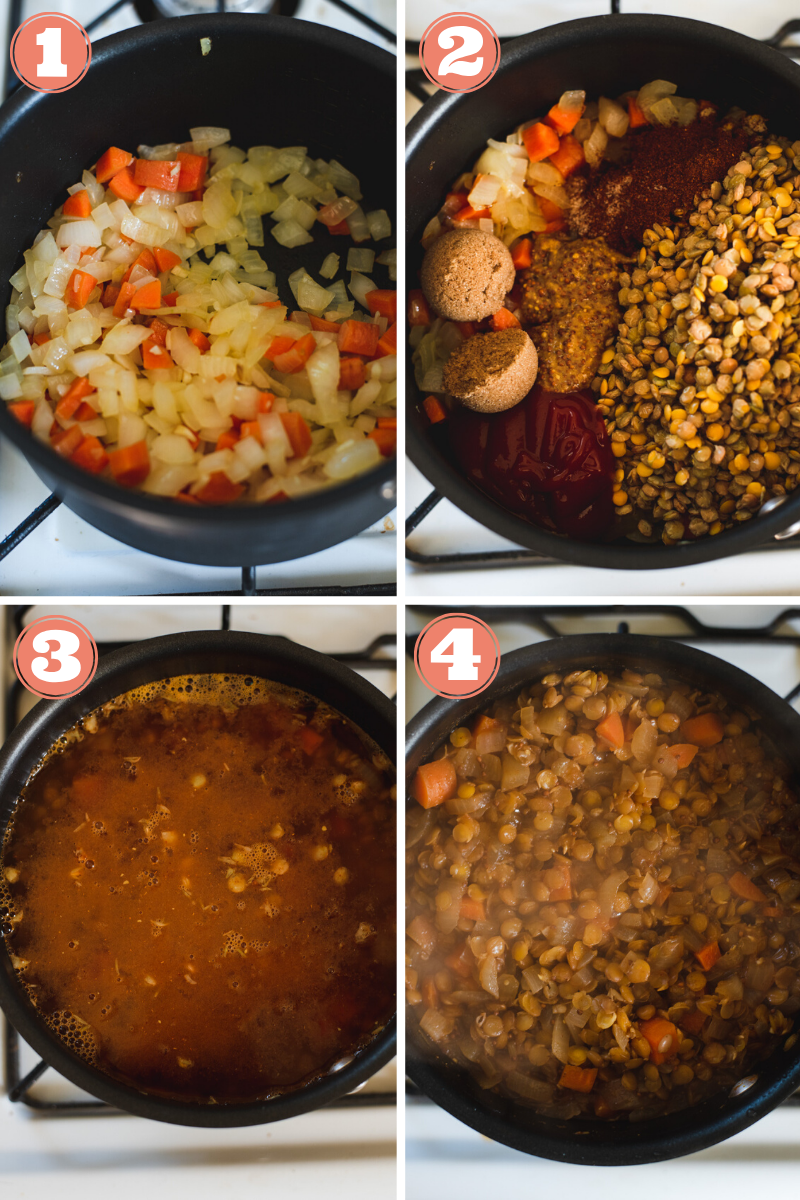 Diagram showing steps 1 through 4 to make sloppy joes