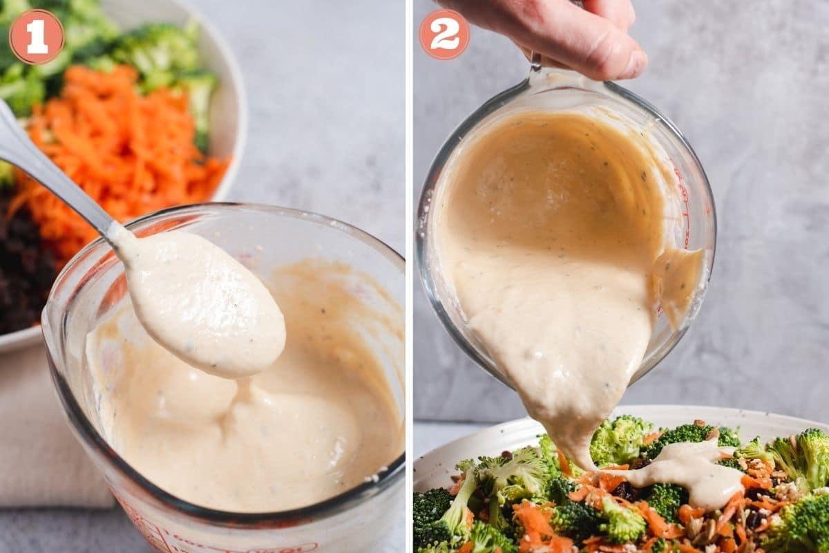 Steps one and two to make broccoli salad
