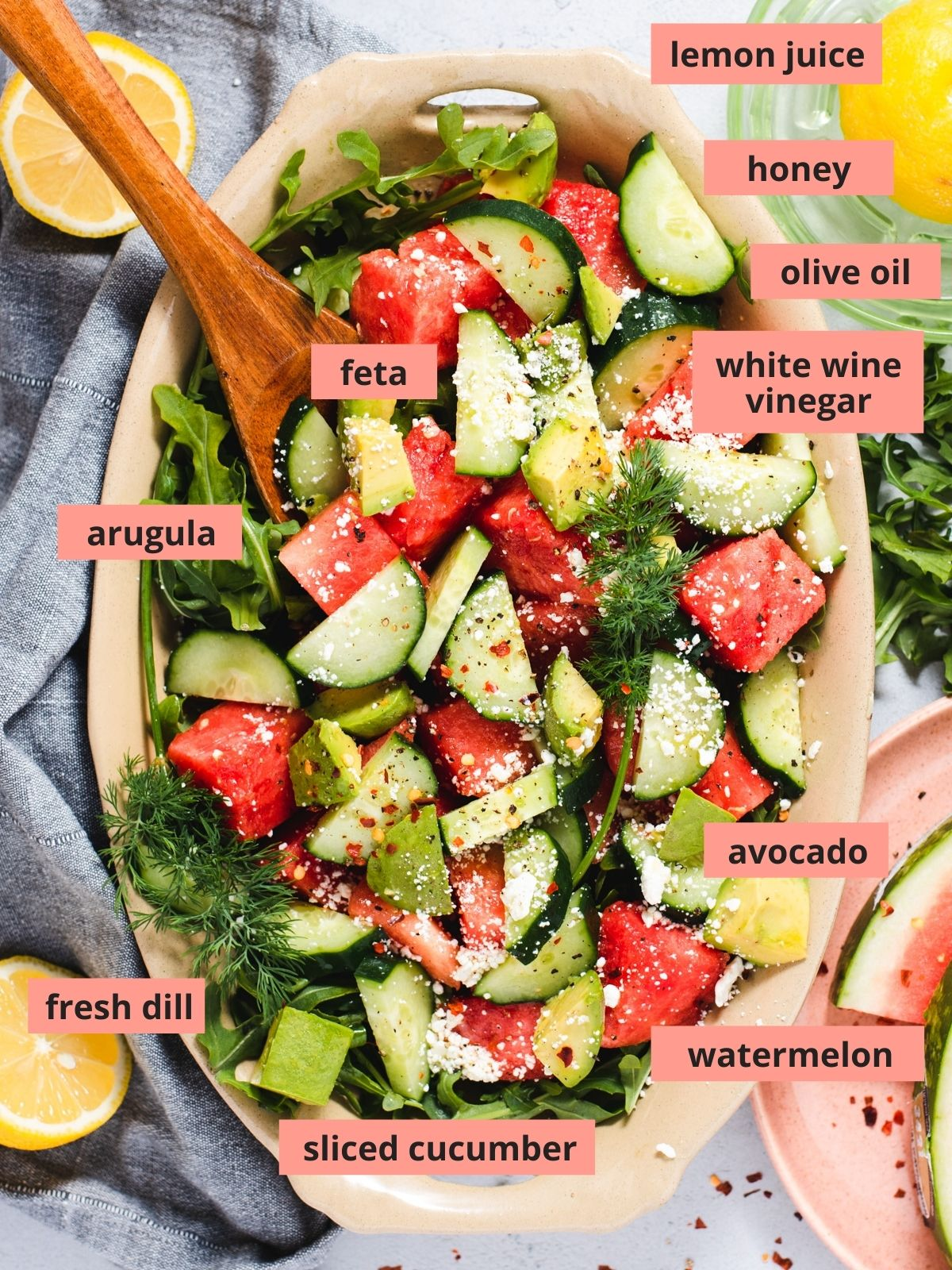 Labeled ingredients used to make watermelon cucumber salad