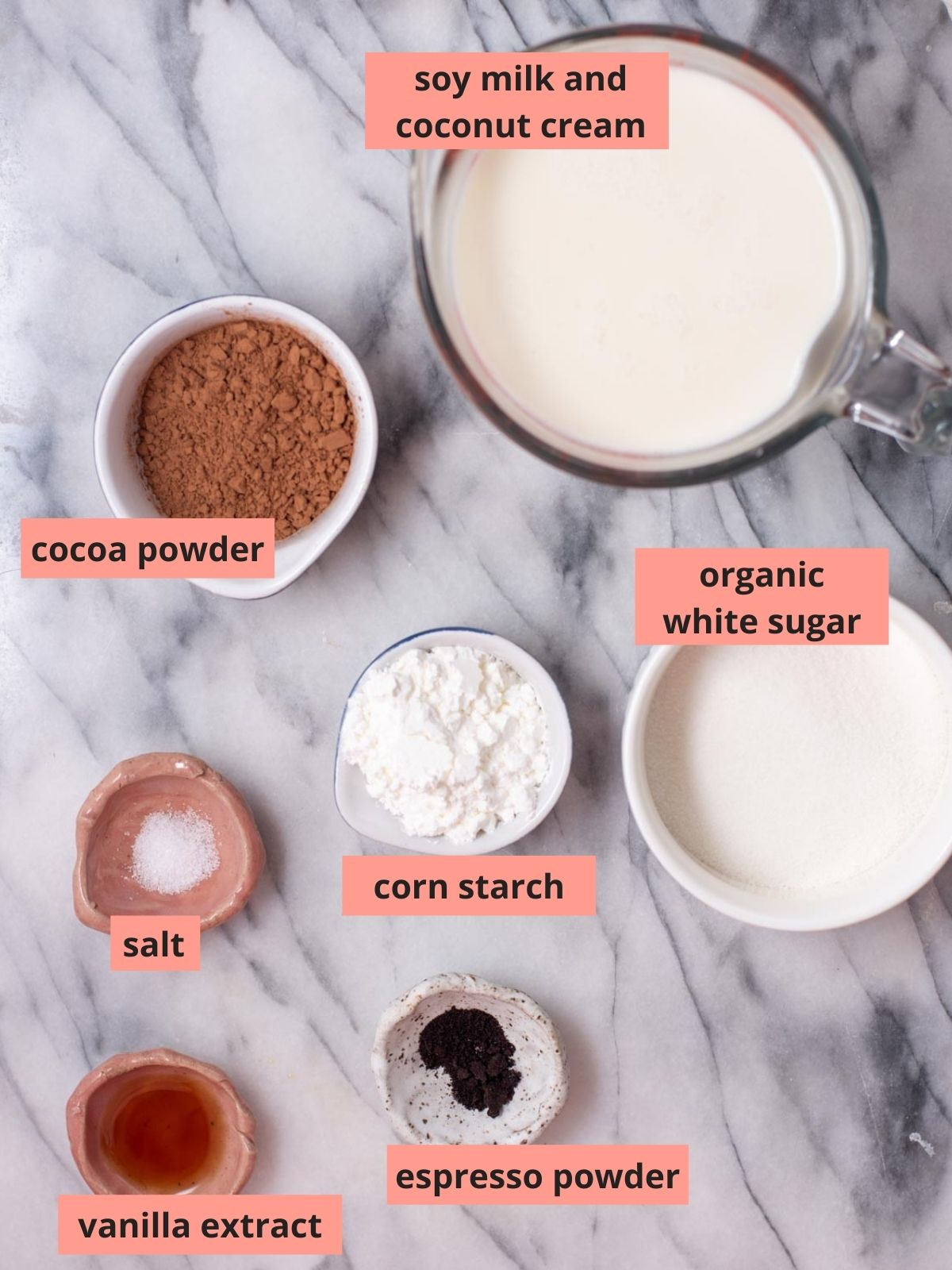 Labeled ingredients used to make chocolate pudding