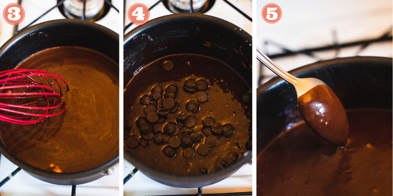 Steps 3, 4 and 5 to make pudding