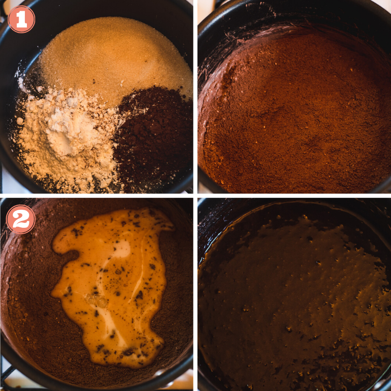 Steps 1 and 2 to make chocolate pudding