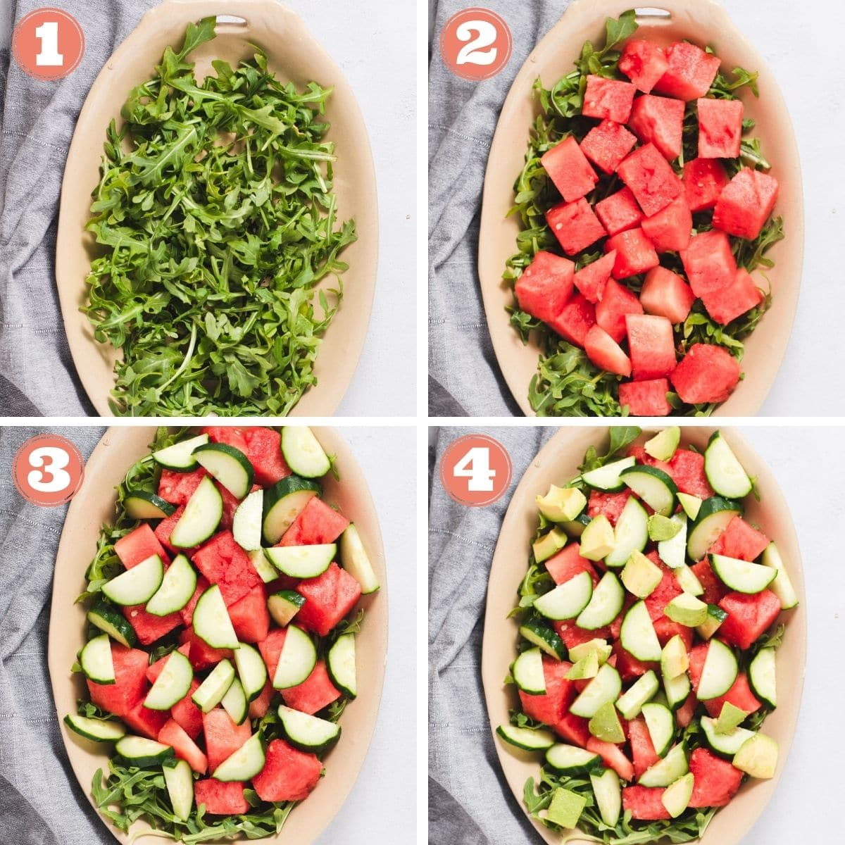 Steps 1 through 4 to layer watermelon cucumber salad