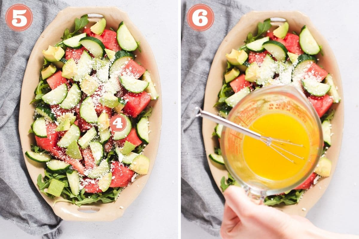 Steps 5 and 6 to layer watermelon salad