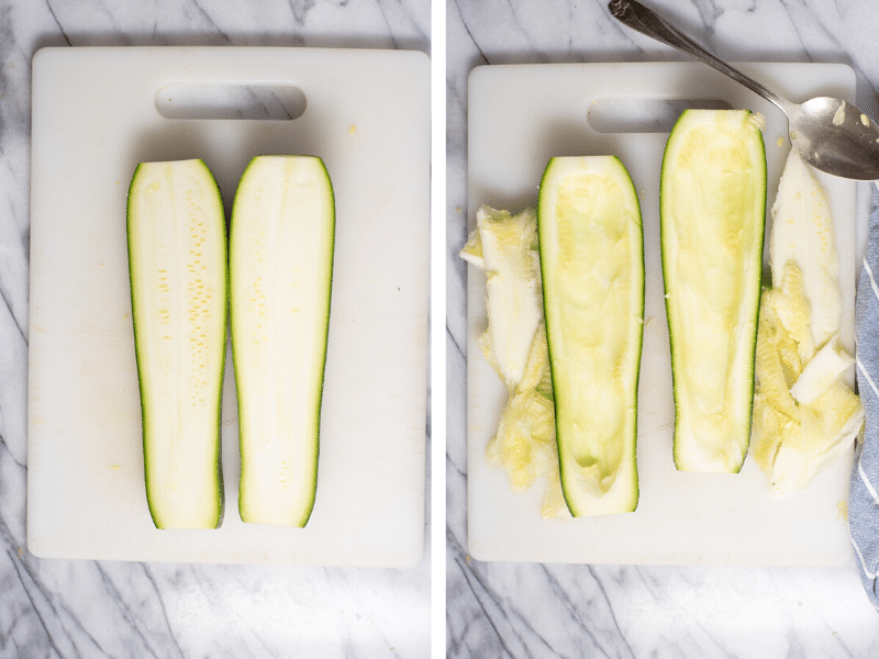 Sliced zucchini on cutting board before and after removing seeds