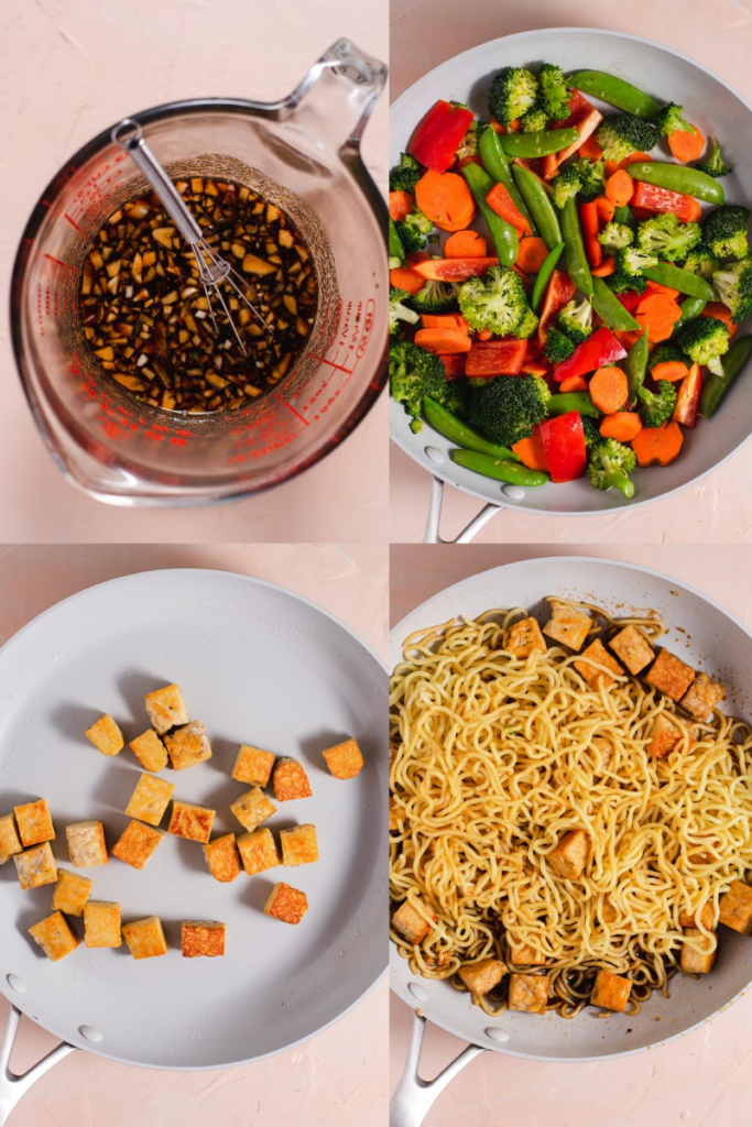 Four images showing steps to make stir fry