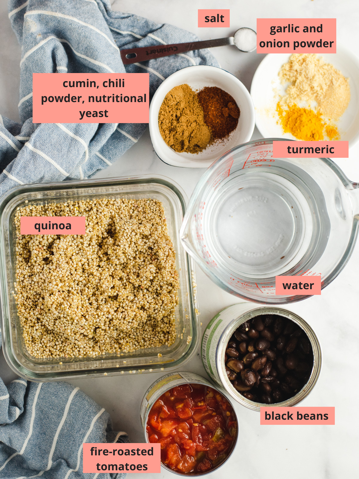 Labeled ingredients to make quinoa taco salad