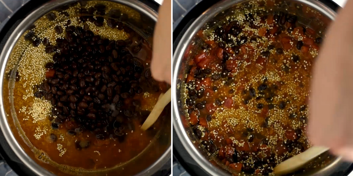 Quinoa salad ingredients being stirred together in an Instant Pot