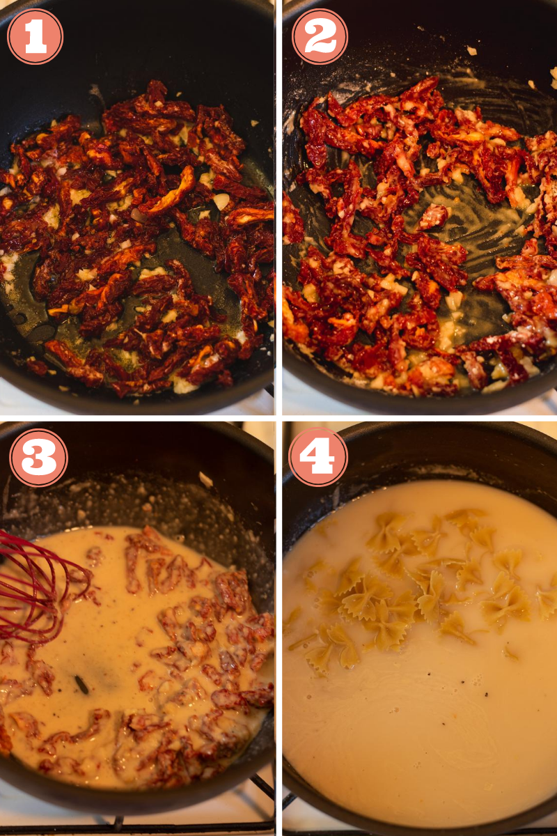 Labeled steps 1 through 4 to make sundried tomato pasta