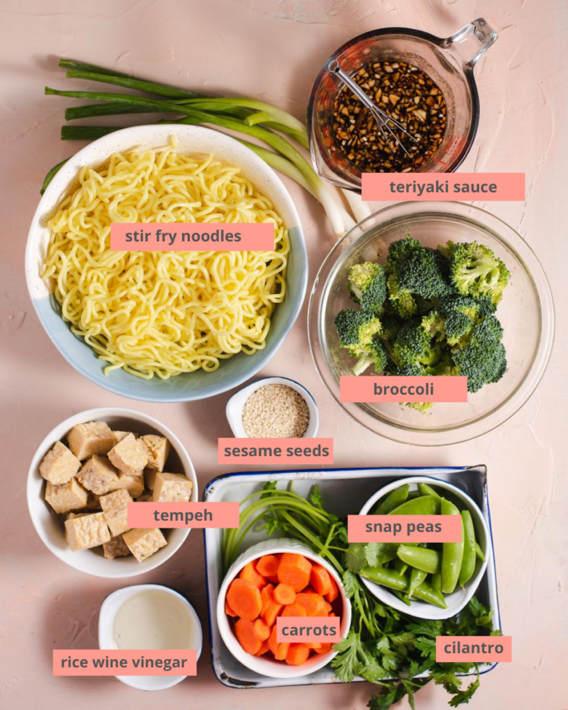 Labeled recipe ingredients in separate bowls
