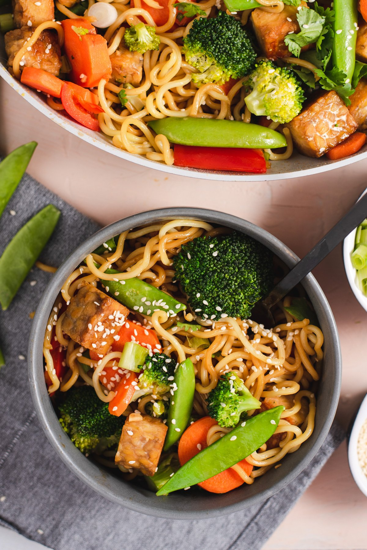 Gray bowl filled with stir fry
