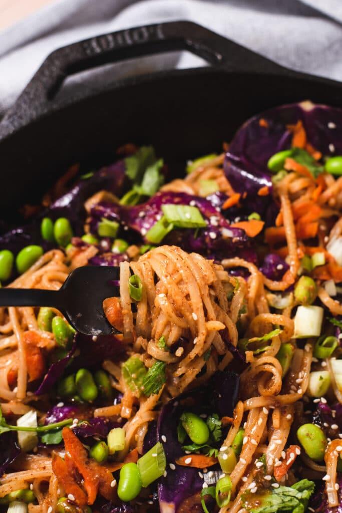 Black fork lifting rice noodles