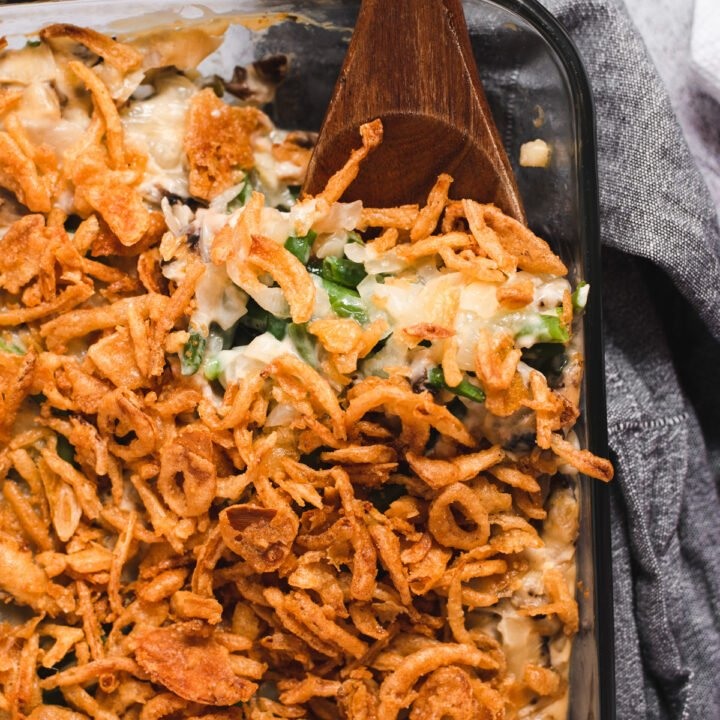 Overhead view of casserole topped with crispy onions