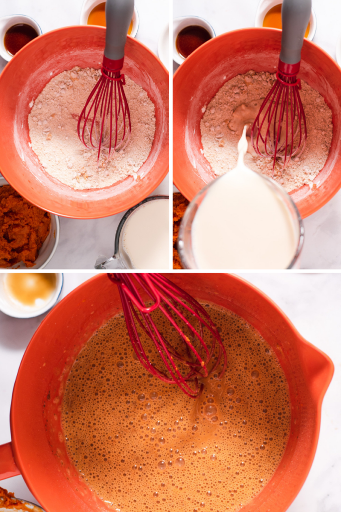 Steps showing how to make pumpkin pie filling