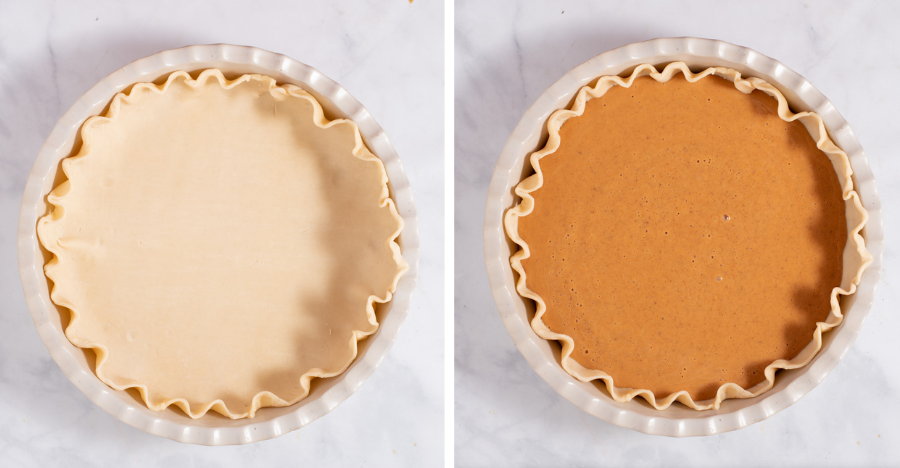 Pie crust before and after being filled