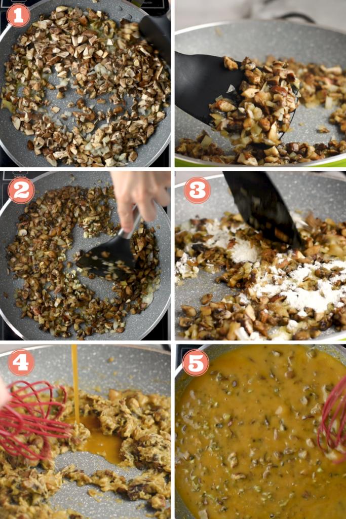 Six photos showing steps to make mushroom gravy