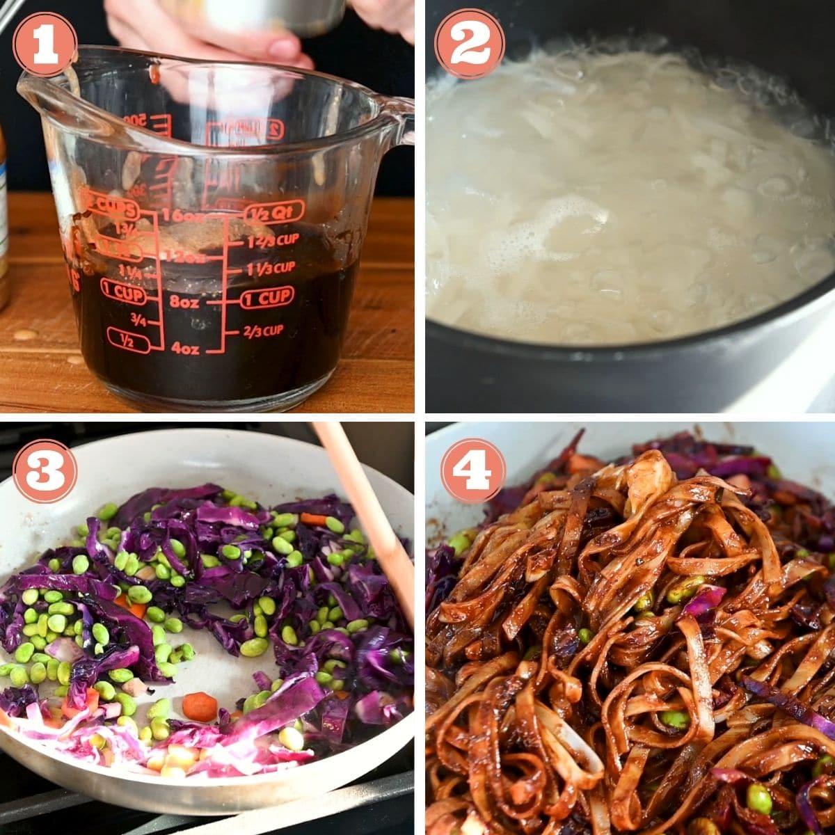 Steps 1 through 4 to make almond butter stir fry