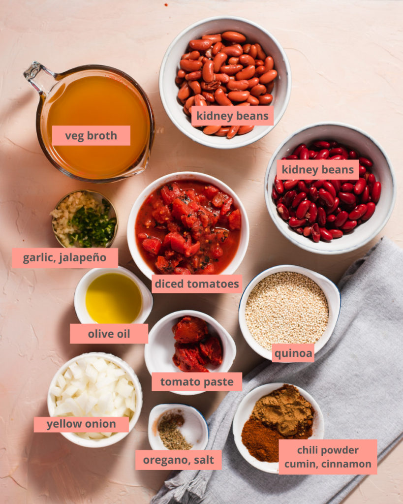 Chili ingredients in individual containers with labels