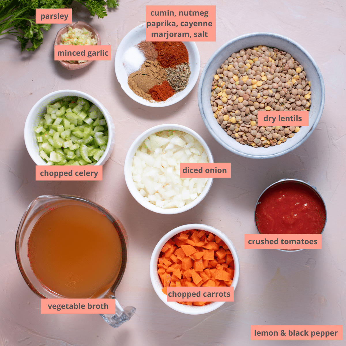 Labeled soup ingredients in individual containers