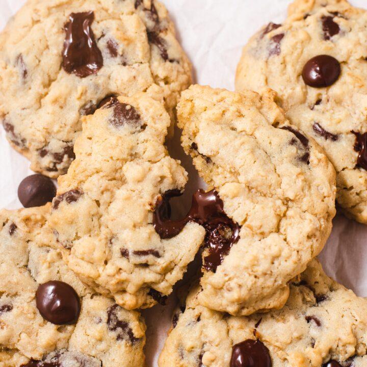 Split in half cookie on top of more cookies