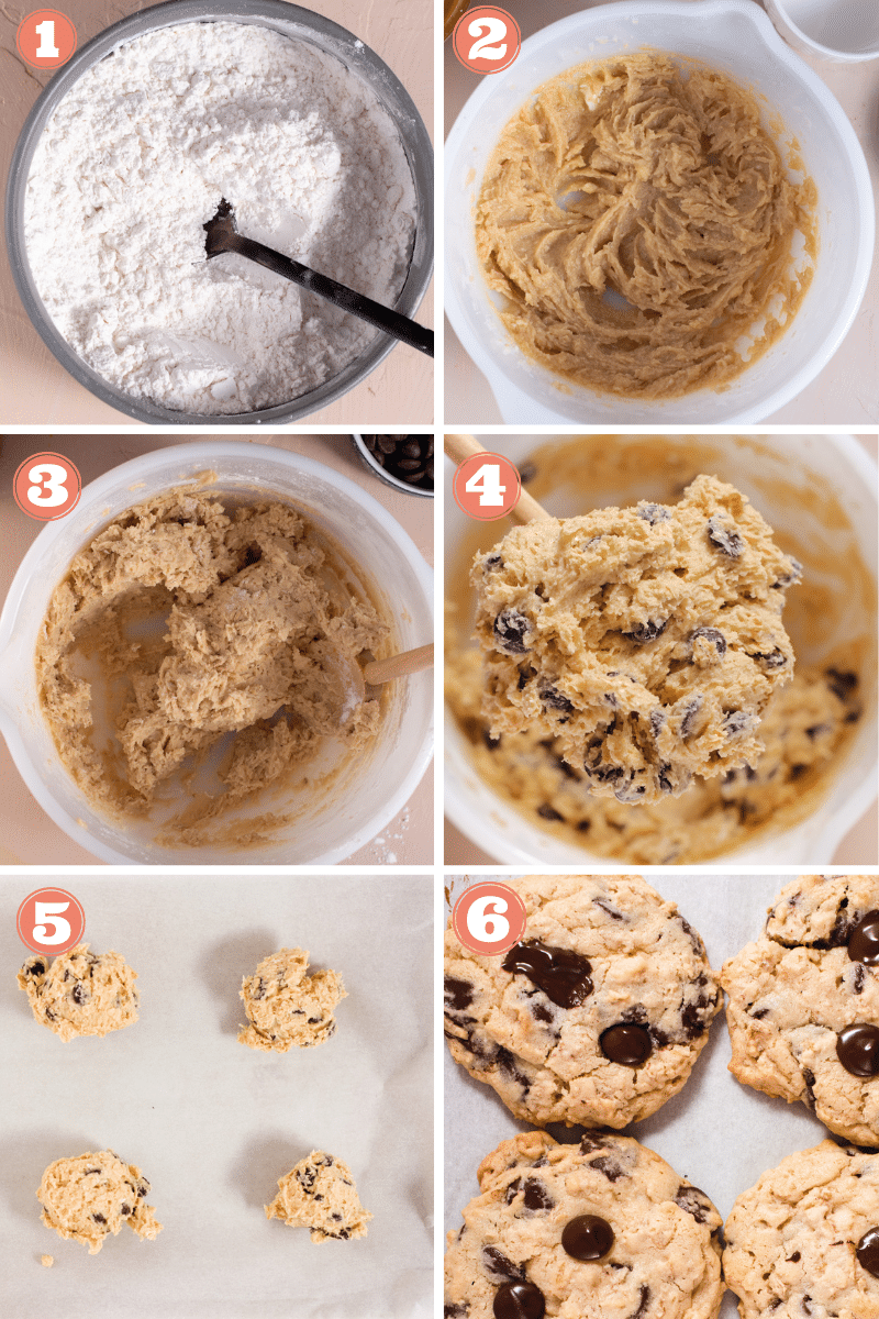 Steps 1 through 6 showing how to make cookies