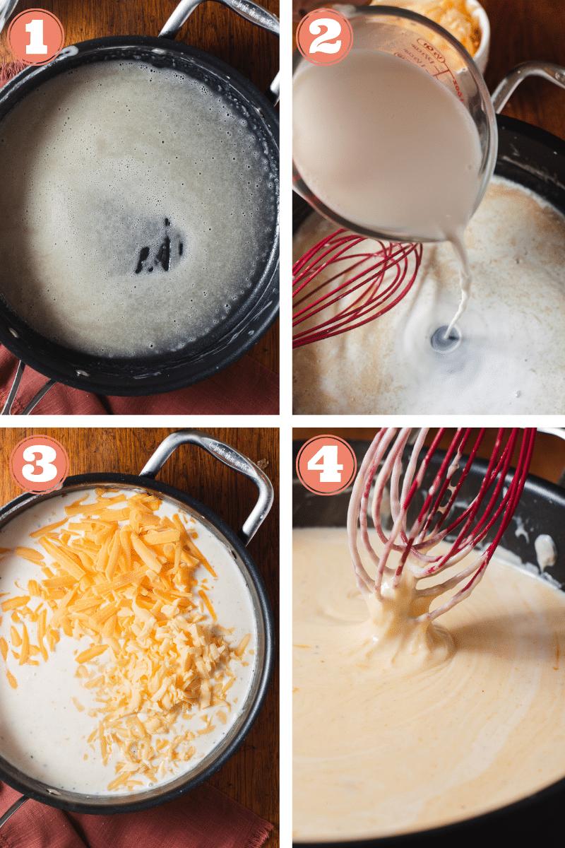 Steps 1 through 4 to make gouda mac and cheese
