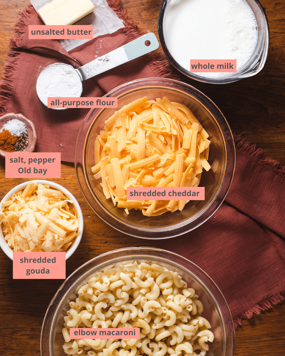 Labeled ingredients to make gouda mac and cheese