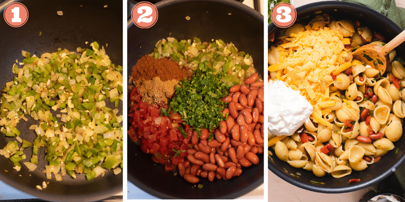 Three images showing steps to make taco pasta
