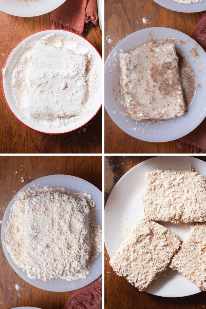 Four pictures showing steps to bread tofu