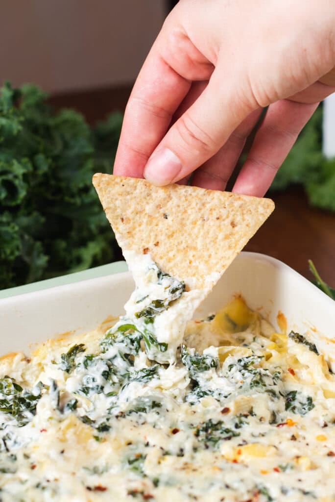 Tortilla dipping into artichoke dip