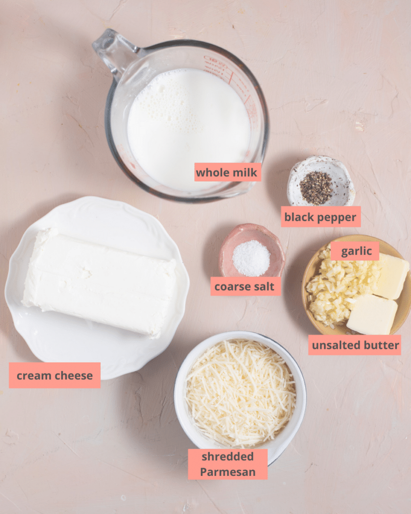 Garlic mashed potato ingredients in separate bowls with name labels