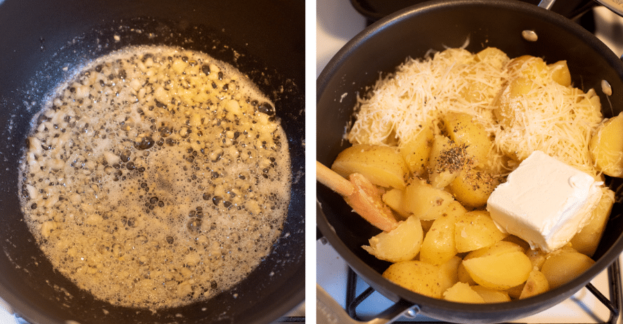 One image showing garlic sauteing in butter and another showing all mashed potato ingredients in a pot