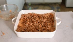 Sweet potato casserole in baking dish before baking