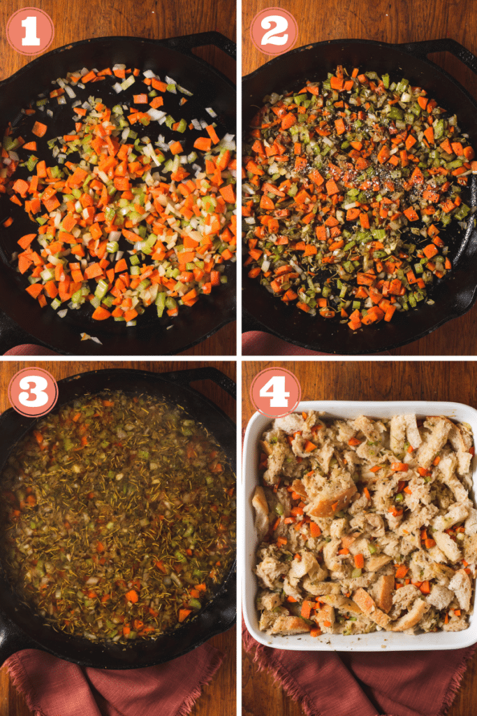 Steps one through 4 showing how to make sourdough stuffing