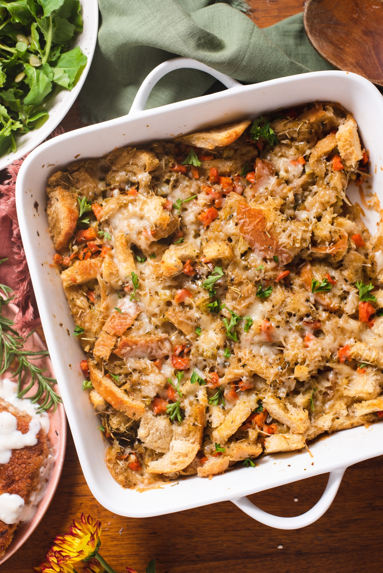 Square white dish with stuffing