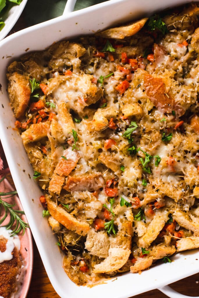 Close up of sourdough stuffing