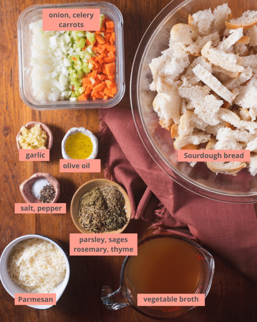 Ingredients to make sourdough stuffing with name labels