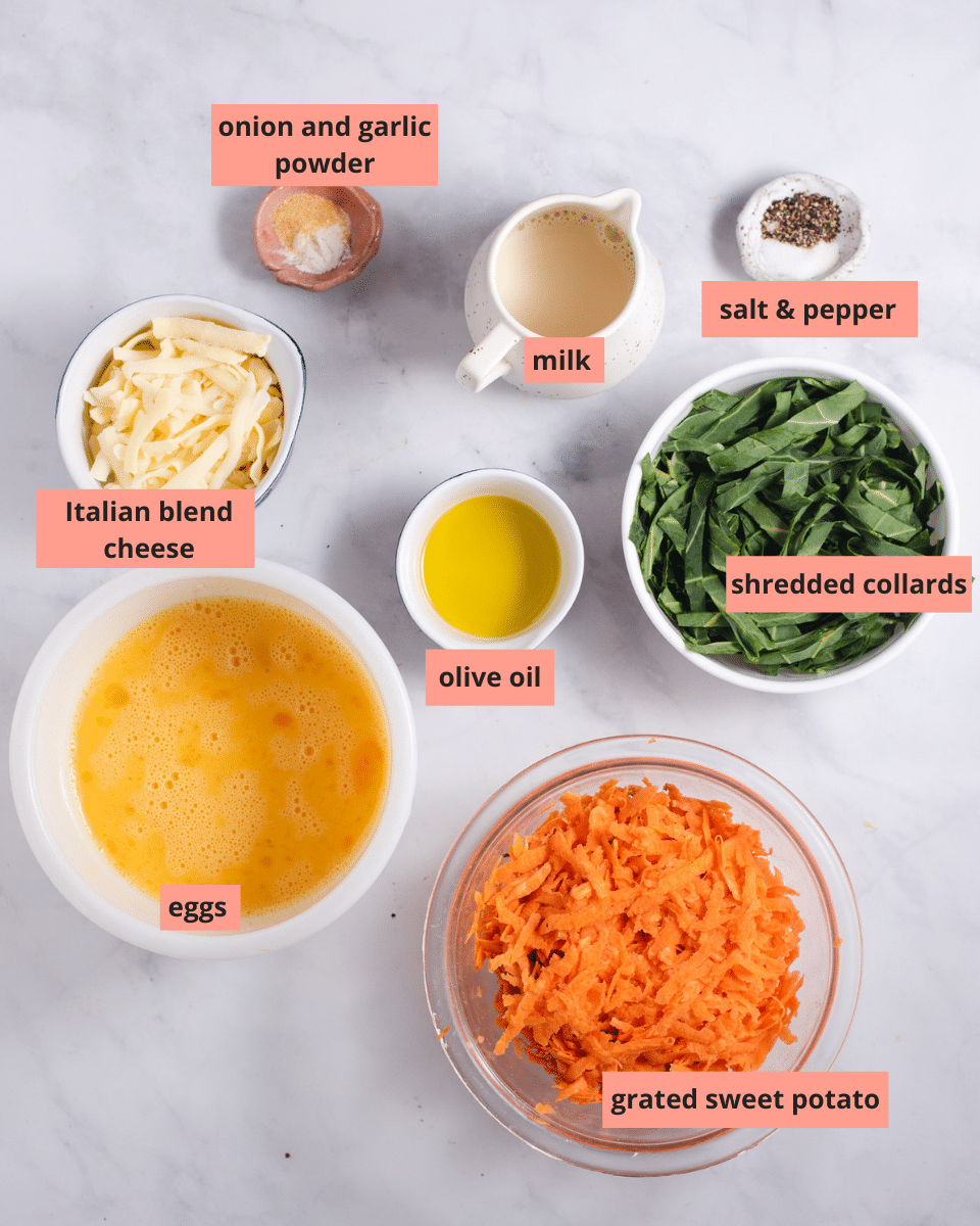 Ingredients used to make collard sweet potato casserole with item names labeled on them