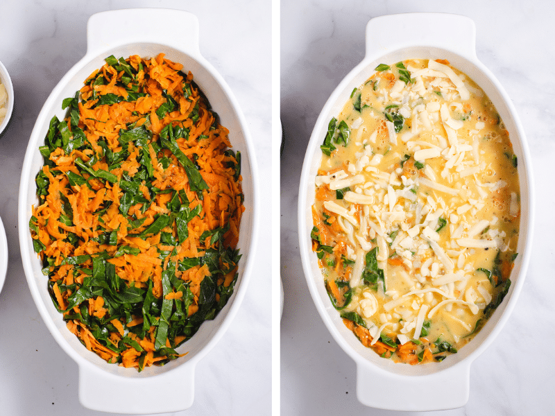 Left image shows sweet potato and collard greens in casserole dish. Right image shows eggs poured on top.