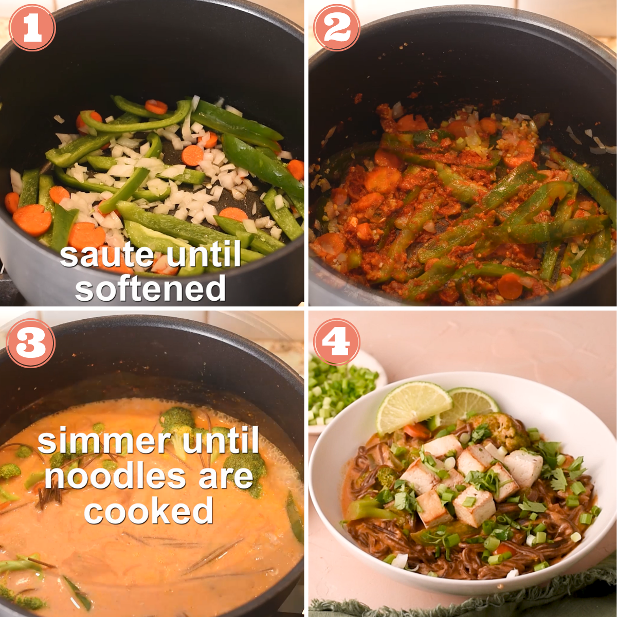 Steps 1 through 4 to make curry noodles