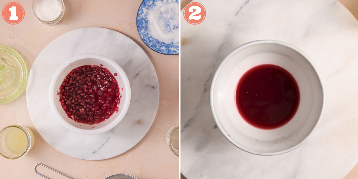 Steps one and two to make pomegranate juice